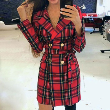 New autumn and winter waist bandage plaid long-sleeved suit jacket dress NHUO442354's discount tags