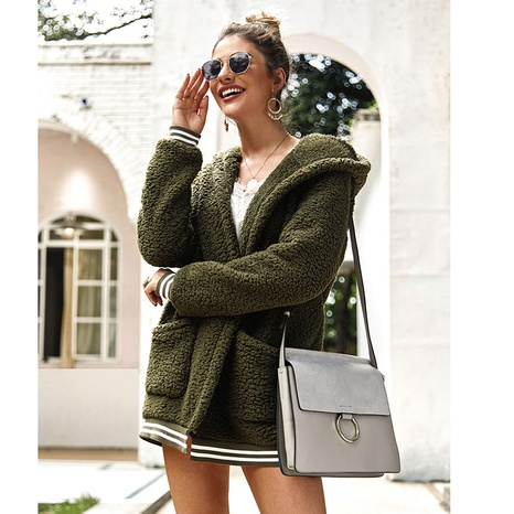 New autumn and winter hooded fur coat threaded cardigan long coat NHKO443314's discount tags