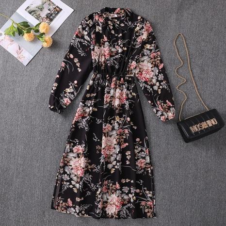 2021 autumn floral bow tie collar waist slimming mid-length split dress NHZN443311's discount tags