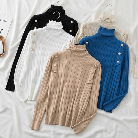 High neck pit strip inner button bottoming sweater NHZN443307's discount tags