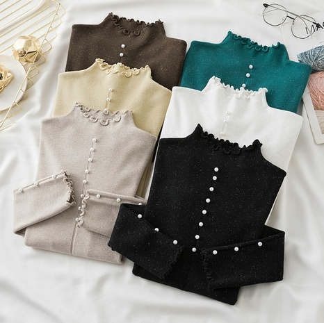 Half-high neck beaded long-sleeved bright silk knit bottoming shirt  NHZN443306's discount tags