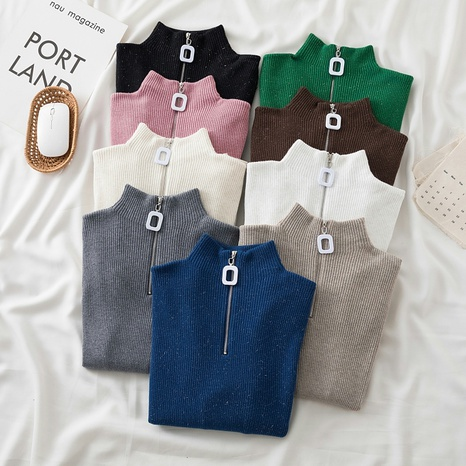 2021 autumn and winter new half high neck zipper pullover sweater  NHZN443305's discount tags