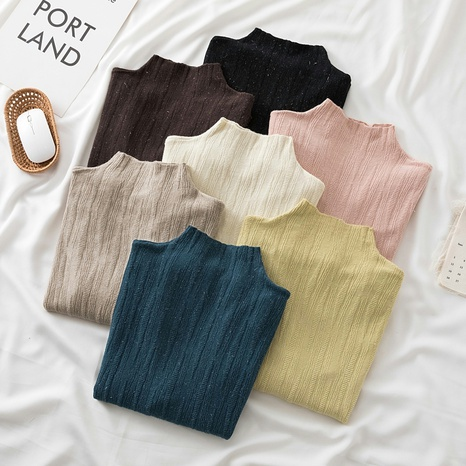2021 autumn and winter new semi-high neck bright silk knitted bottoming shirt women's inner long-sleeved top  NHZN443304's discount tags