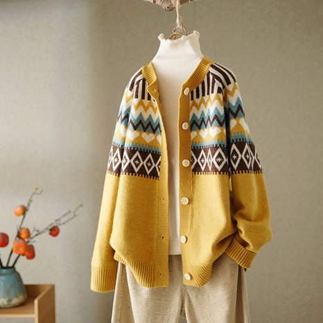 New clashing color loose sweater cardigan jacket NHKO442353's discount tags