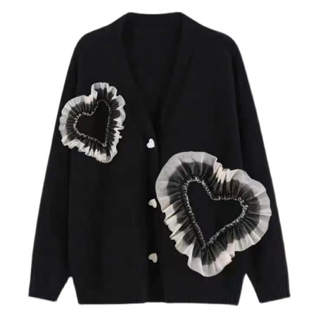 autumn 2021 new temperament V-neck loose large size knit sweater cardigan  NHKO443303's discount tags