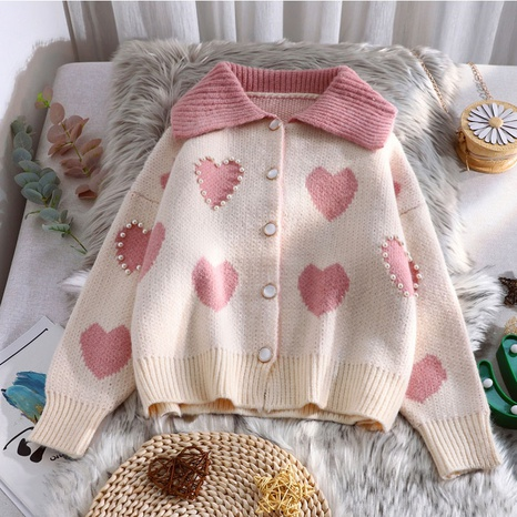 Autumn and winter new heart sweater coat women's blouse NHKO442349's discount tags