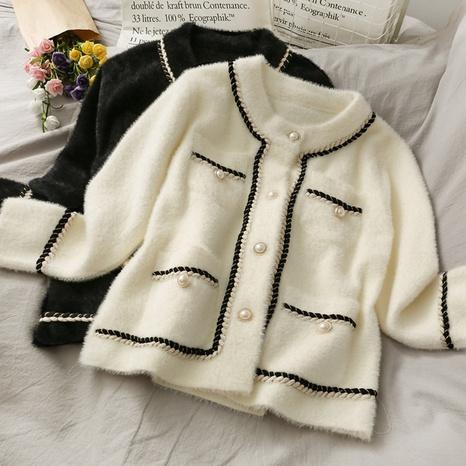 classic loose short woolen cardigan jacket NHKO442351's discount tags