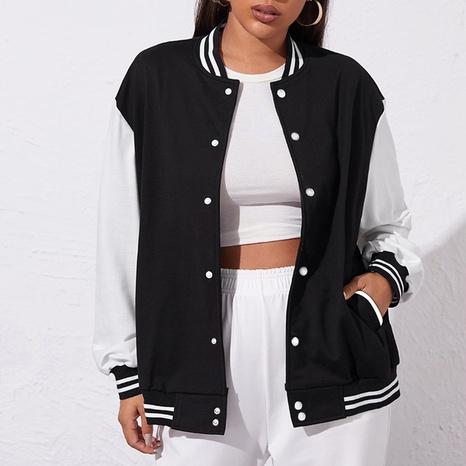 Women's clashing color casual baseball uniform loose baseball uniform jacket  NHZN443302's discount tags