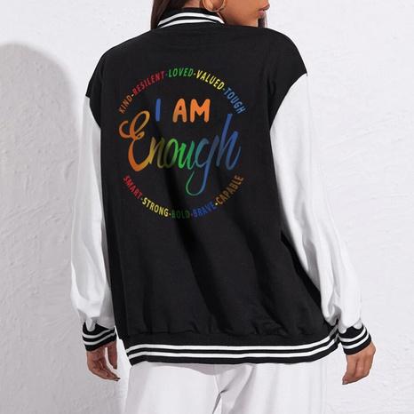 Circular letter printing casual baseball uniform loose baseball uniform jacket  NHZN443301's discount tags