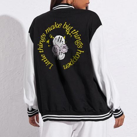 Cartoon letter printing casual baseball uniform loose baseball uniform jacket  NHZN443299's discount tags