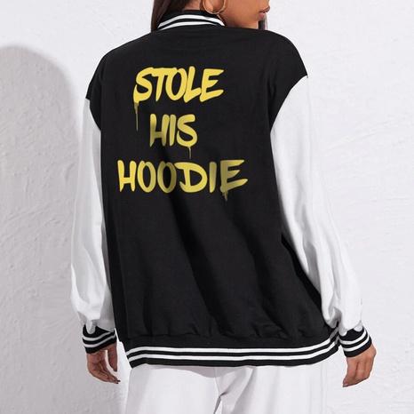 Yellow letter printed casual baseball uniform loose baseball uniform jacket  NHZN443298's discount tags