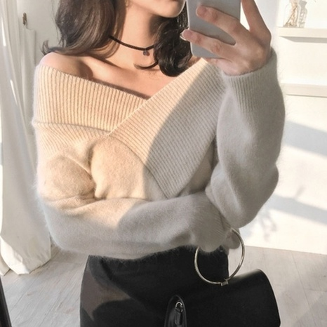 V-neck off-shoulder mink fur furry pullover fashion knitted top NHKO442348's discount tags
