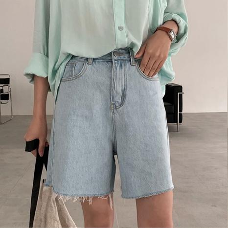 High-waisted wide-leg denim shorts pants NHKO443295's discount tags