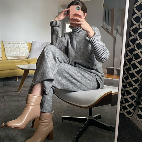 High neck split sweater loose wide-leg pants two-piece suit  NHKO443294's discount tags