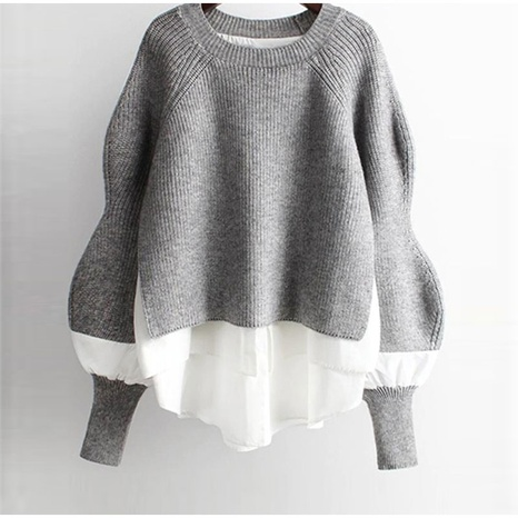 Autumn loose padded sweater top knit sweater NHKO443293's discount tags