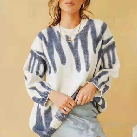 Tie-dyed crew neck loose sweater NHUO442355's discount tags
