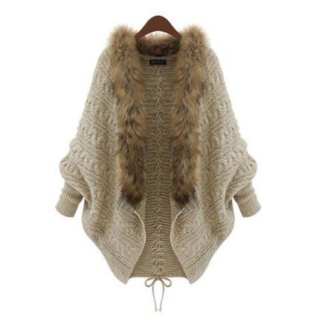 2021 autumn and winter new fur collar long-sleeved bat-sleeved knitted cardigan  NHIS443288's discount tags