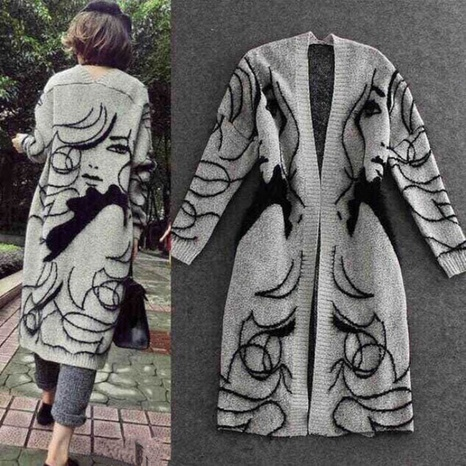 Autumn and winter new mid-length cardigan jacket sweater sweater NHJC443287's discount tags