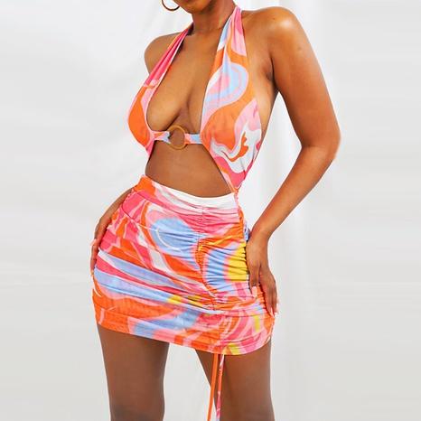 2021 summer women's halter neck strap print halter dress NHZN443286's discount tags