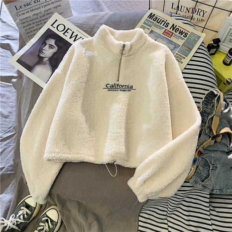 2021 autumn and winter new letter printing half-high round neck long-sleeved plush sweater  NHIS443283's discount tags