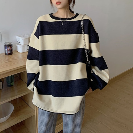 2021 autumn and winter new round neck striped contrast long-sleeved sweater  NHIS443282's discount tags