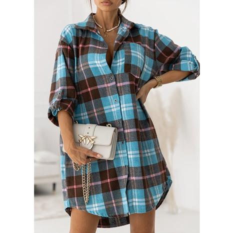 New women's plaid slim fashion shirt skirt NHJG443281's discount tags