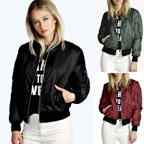 Autumn and winter new solid color short fashion zipper outer tower jacket NHJC443280's discount tags