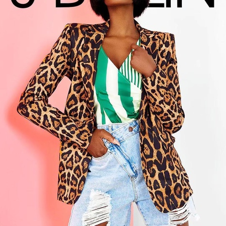 Fall new slim leopard lapel cardigan female printed temperament suit jacket NHJG443279's discount tags