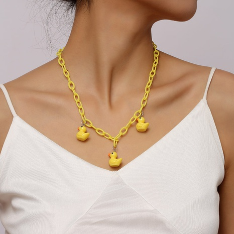 cute resin duckling necklace female personality animal acrylic pendant jewelry NHLA442616's discount tags
