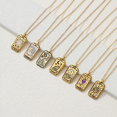 Collier de tarot créatif de mode personnalité rétro couleur dégoulinant collier pendentif tarot NHYIA442621's discount tags