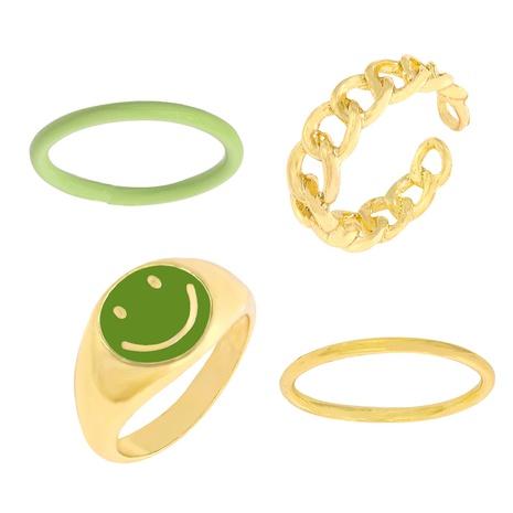Anillo de cadena de pintura en aerosol de metal popular transfronterizo anillo sonriente de nicho conjunto de anillo de junta de apilamiento NHJQ442758's discount tags