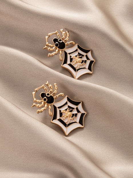 new fashion creative jewelry Halloween golden spider earrings NHGY444991's discount tags