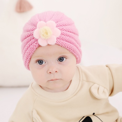 2021 autumn and winter models children's warm knitted hat 21-color baby woolen big flower pullover hat NHWO442993's discount tags