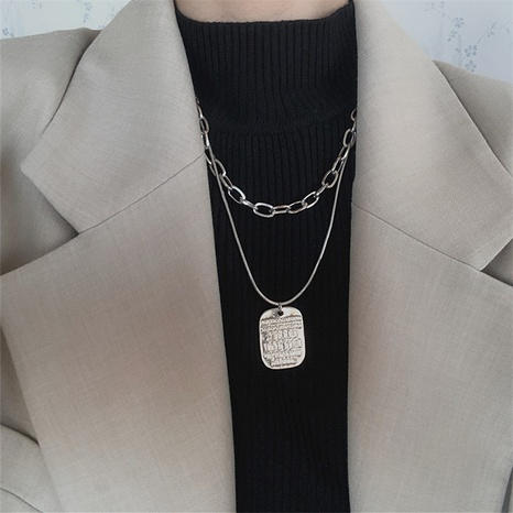 personality simple double layered letter tag necklace temperament long hip-hop sweater chain NHPA443183's discount tags