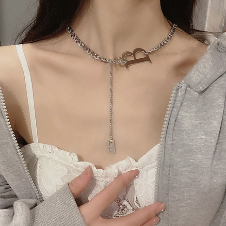 2021 new English letters simple clavicle chain  NHPA443204's discount tags