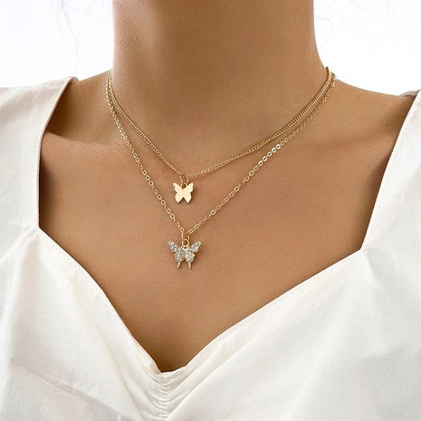simple new product double butterfly small diamond design temperament fashion necklace two-piece clavicle chain NHPV443268's discount tags