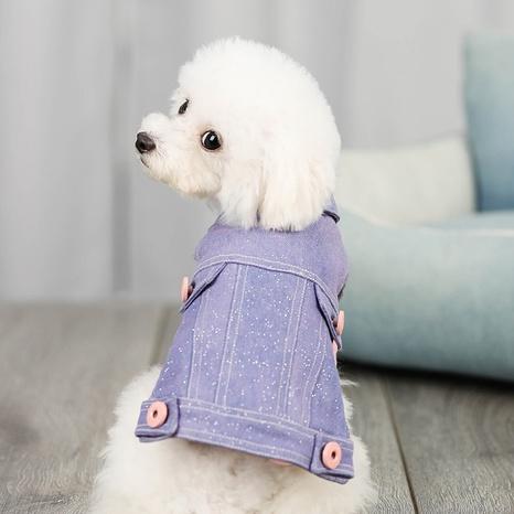 new pet shiny denim vest wholesale thick warm punk dog cat plush clothes for autumn and winter NHPSM443428's discount tags