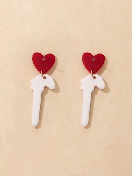 Cross-border Heart Acrylic Earrings Fun Cute Candy Cane Christmas Long Earrings NHGY444884's discount tags