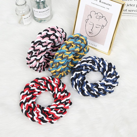 pet rope knot toy handmade cotton woven cotton rope donut interactive training rope cleaning molars  NHPSM443446's discount tags