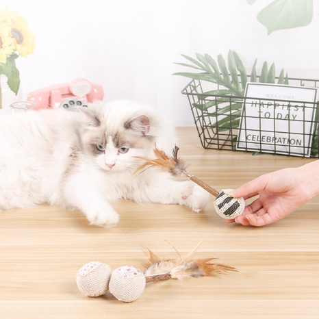 feathers teasing cat self-hey toy molar teeth cleaning linen ball wholesale NHPSM443452's discount tags