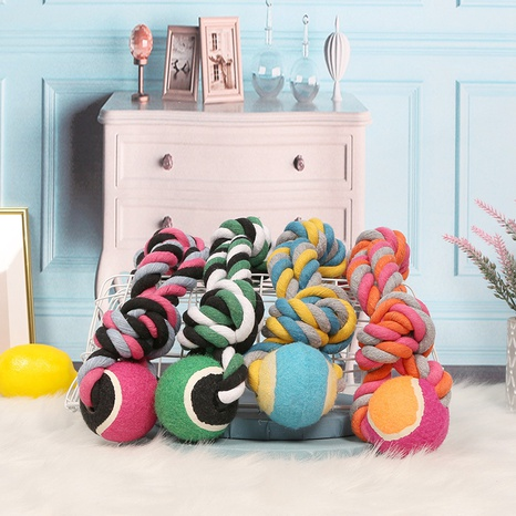pet dog toy ball cotton string tennis knot toy wear-resistant bite resistant interactive molar toy knitting NHPSM443457's discount tags