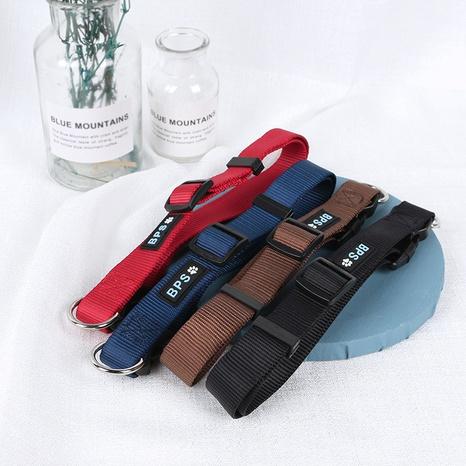 pet collar dog collar nylon collar adjustable buckle solid color dog leash NHPSM443459's discount tags