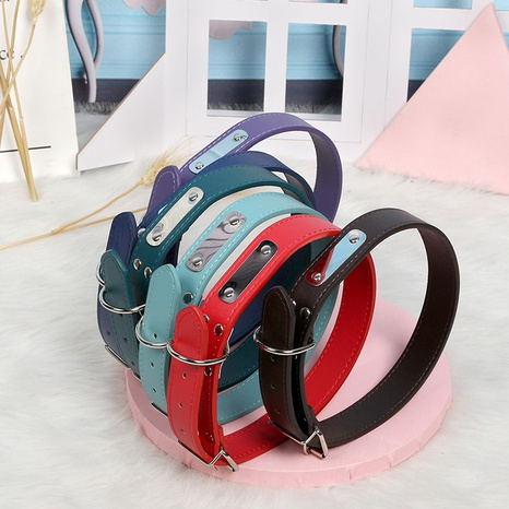 solid color pu leather pet collar stainless steel willow nail buckle leather traction rope  NHPSM443460's discount tags