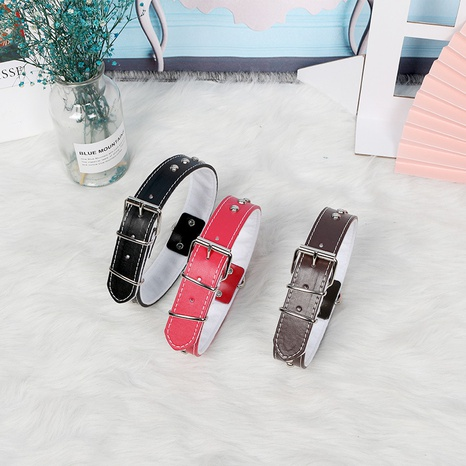 solid color pu leather pet collar stainless steel rivet chrome-plated gold buckle leather traction rope  NHPSM443462's discount tags