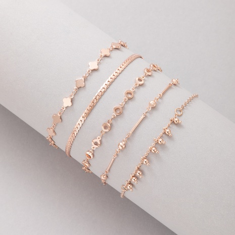 2021 New Jewelry Rose Gold Star Geometric Bracelet Five Piece Set NHGY445944's discount tags