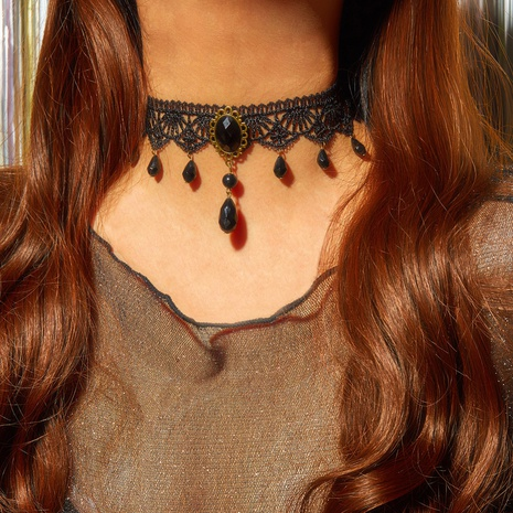 Creative new retro palace Gothic personality multi-layer crystal lace necklace choker clavicle chain NHPJ445096's discount tags