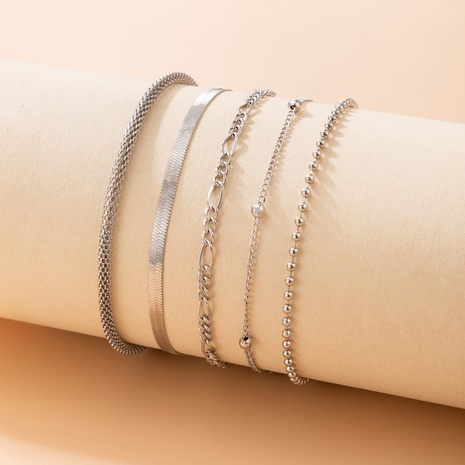 2021 European and American cross-border new jewelry geometric five-piece anklet NHGY445943's discount tags