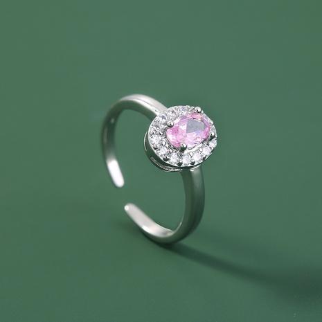 nuevo anillo de dedo anillo de circón rosa con micro incrustaciones de joyería creativa europea y americana de comercio exterior NHDB445449's discount tags