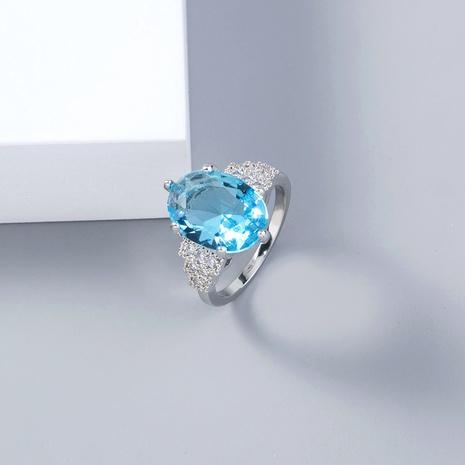 joyería de moda anillo de circón micro incrustado de piedras preciosas grandes ovaladas azules NHDB445464's discount tags