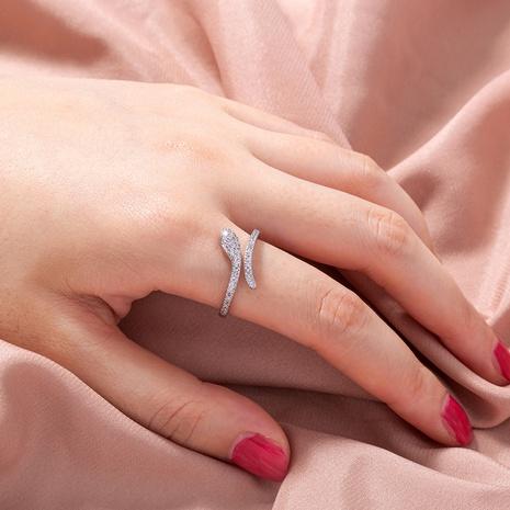 Joyas europeas y americanas que abren un anillo de joyería con forma de serpiente de circón microincrustado ajustable NHDB445475's discount tags